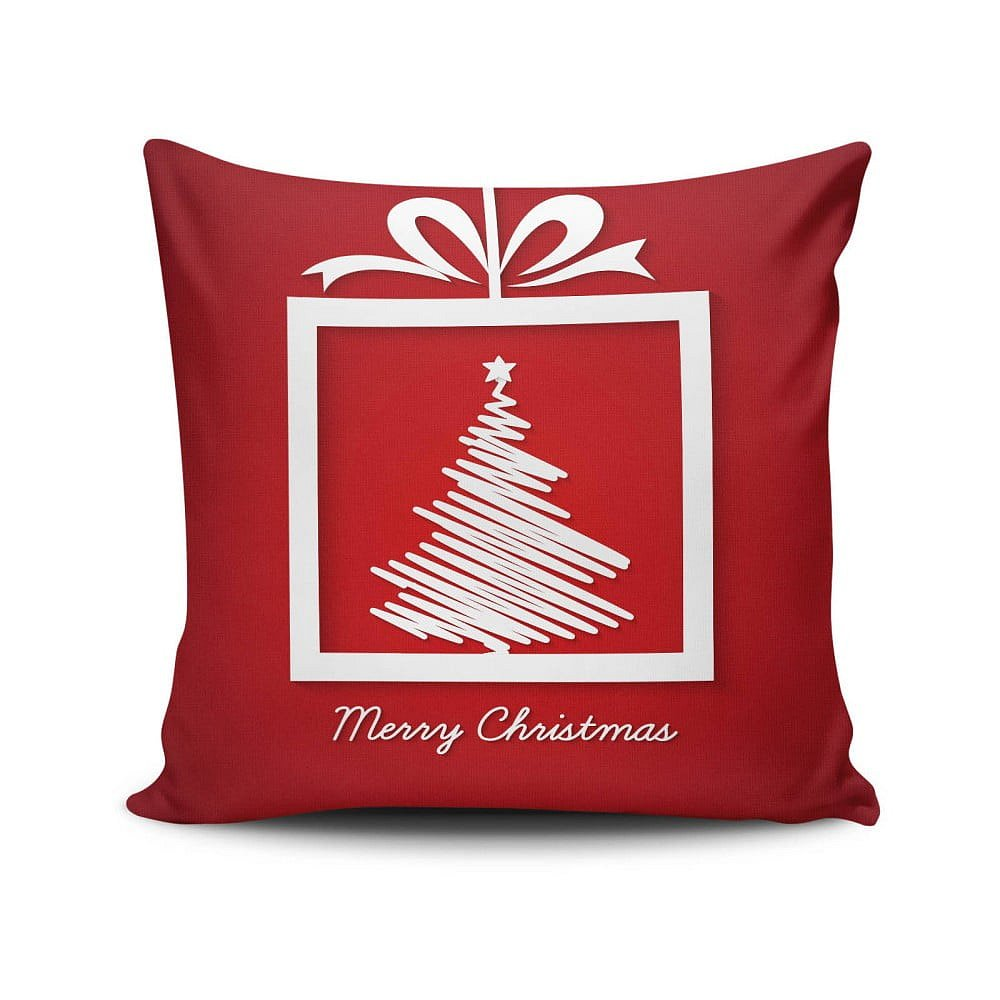 Červený polštář Merry Christmas, 45x45 cm