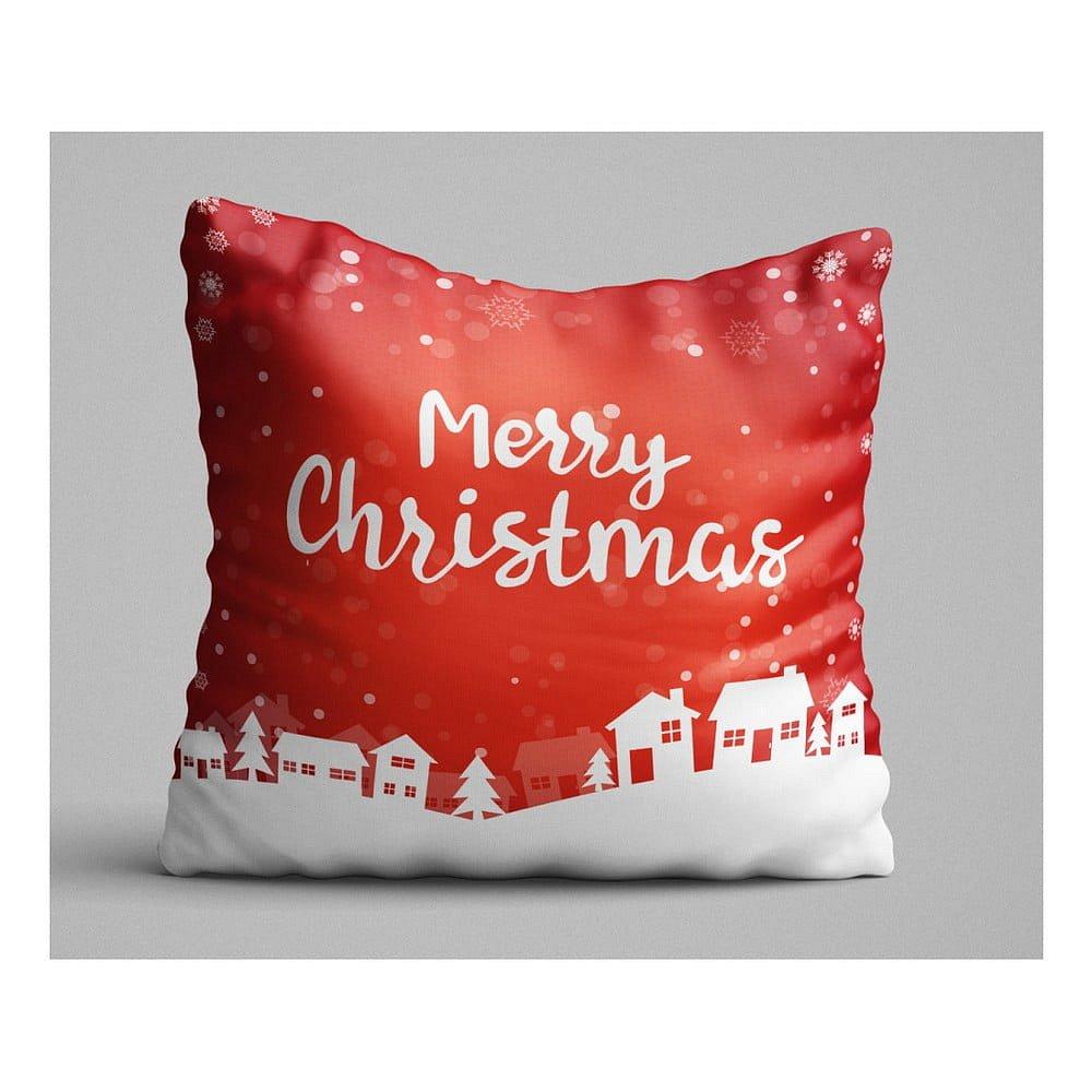 Červený polštář Christmas Village, 45x45 cm