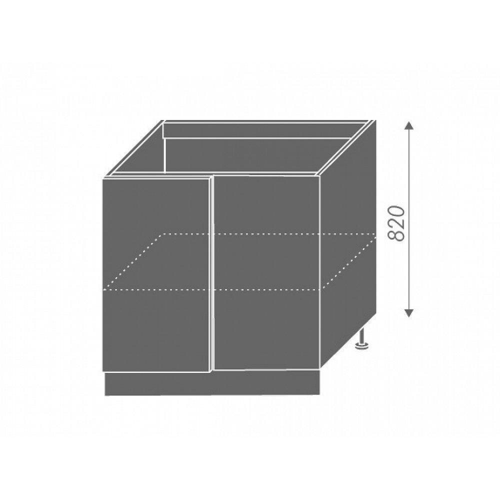 SILVER+, skříňka dolní rohová D13 U, korpus: bílý, barva: latte