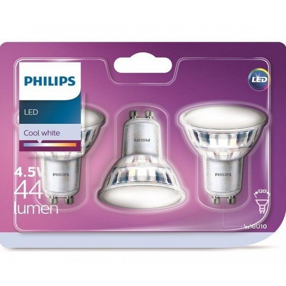 PHILIPS LED Classic ND GU10 4,5 W 120 ° neutrální bílá paket 3ks