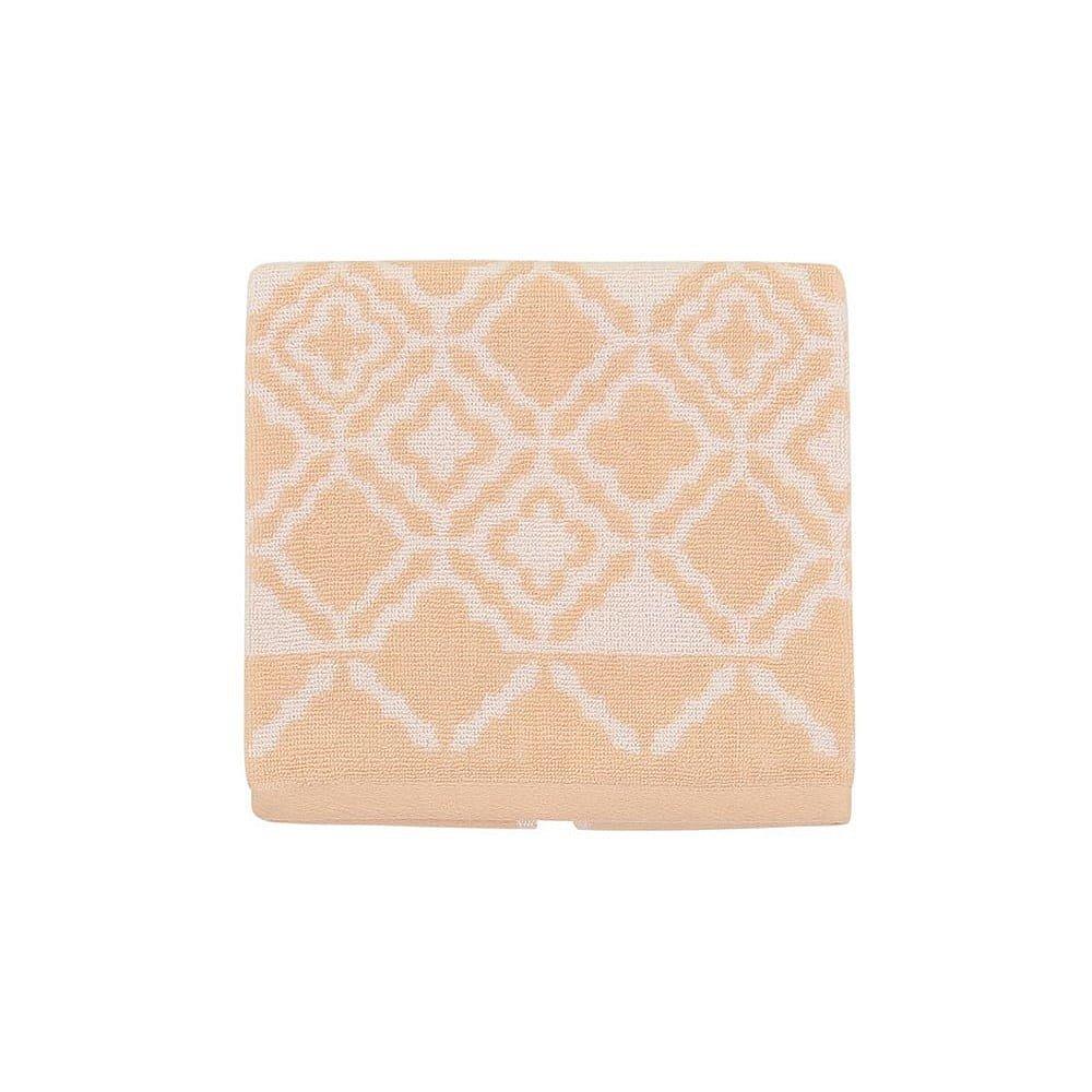 Světle oranžový bavlněný ručník Mozaic, 50x90 cm