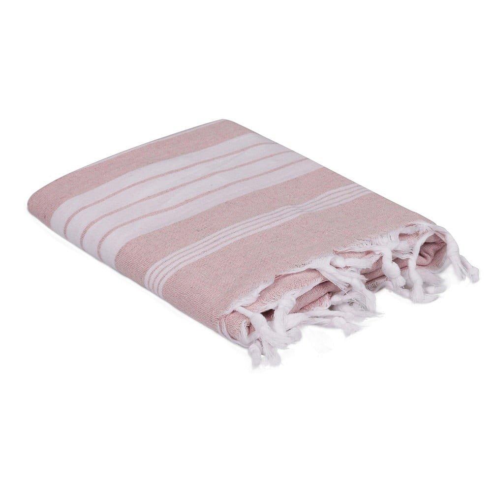 Světle růžovo-bílý ručník, 170 x 90 cm