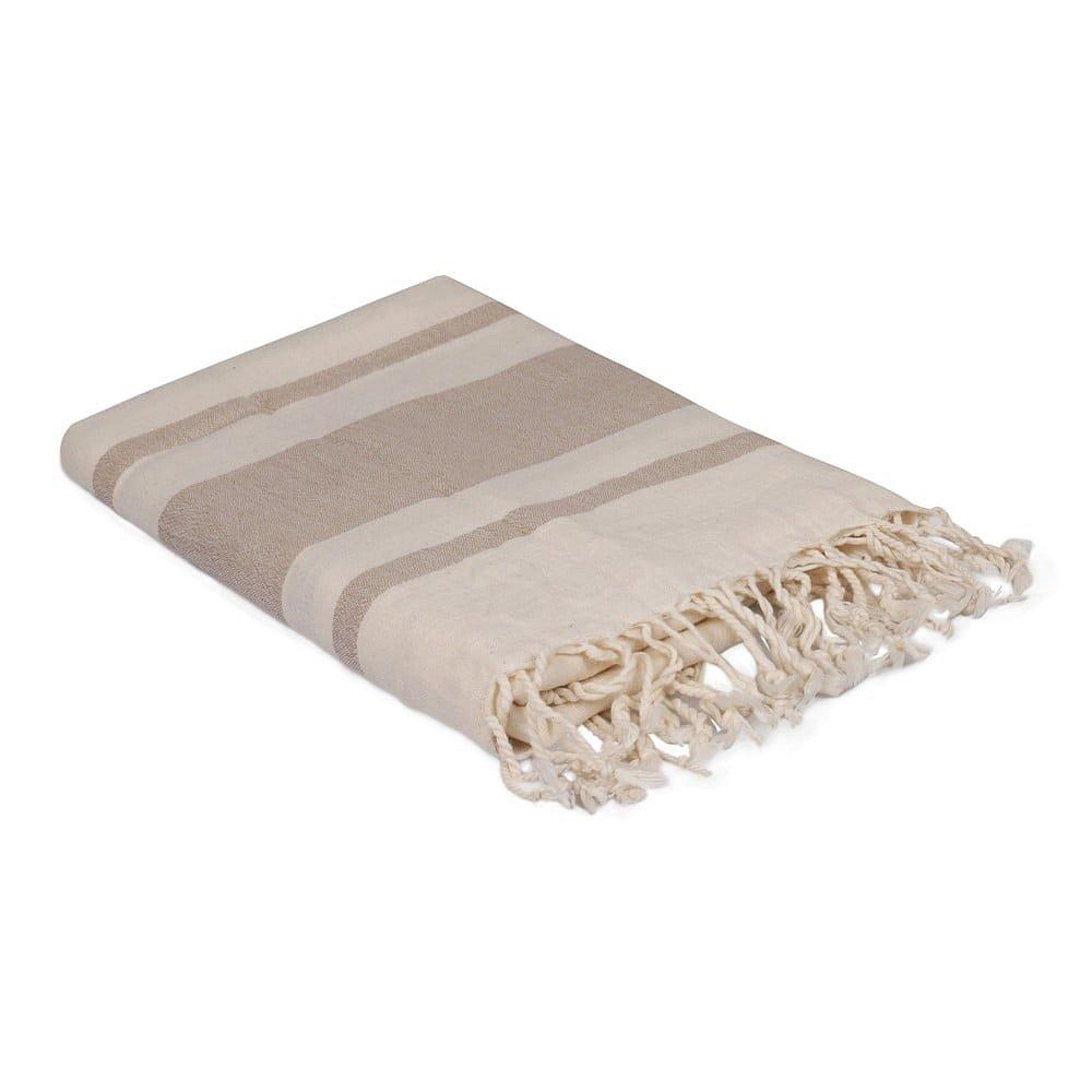 Hnědo-bílý ručník, 170 x 90 cm