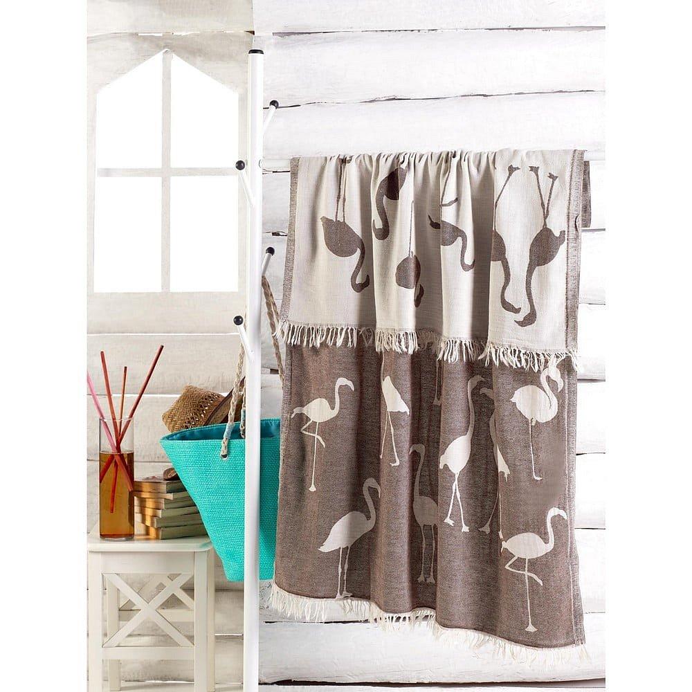 Hnědý ručník Flamingo, 180 x 100 cm
