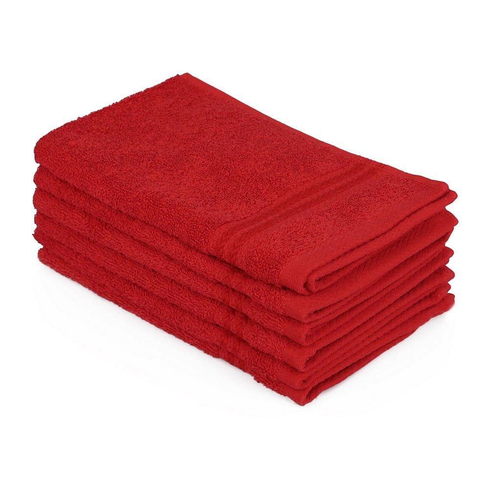 Sada 6 červených ručníků do koupelny, 50 x 30 cm