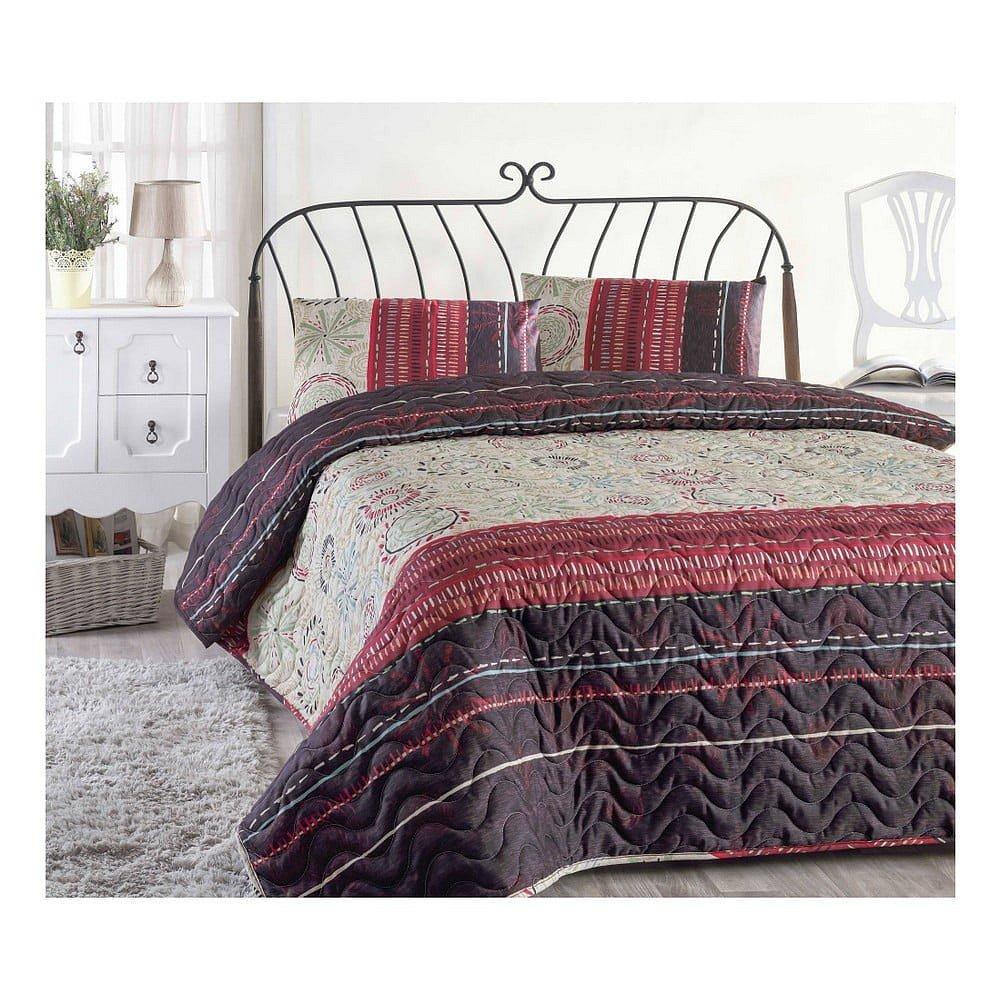 Set přehozu přes postel a povlaku na polštář s příměsí bavlny Aries Maroon, 160 x 220 cm