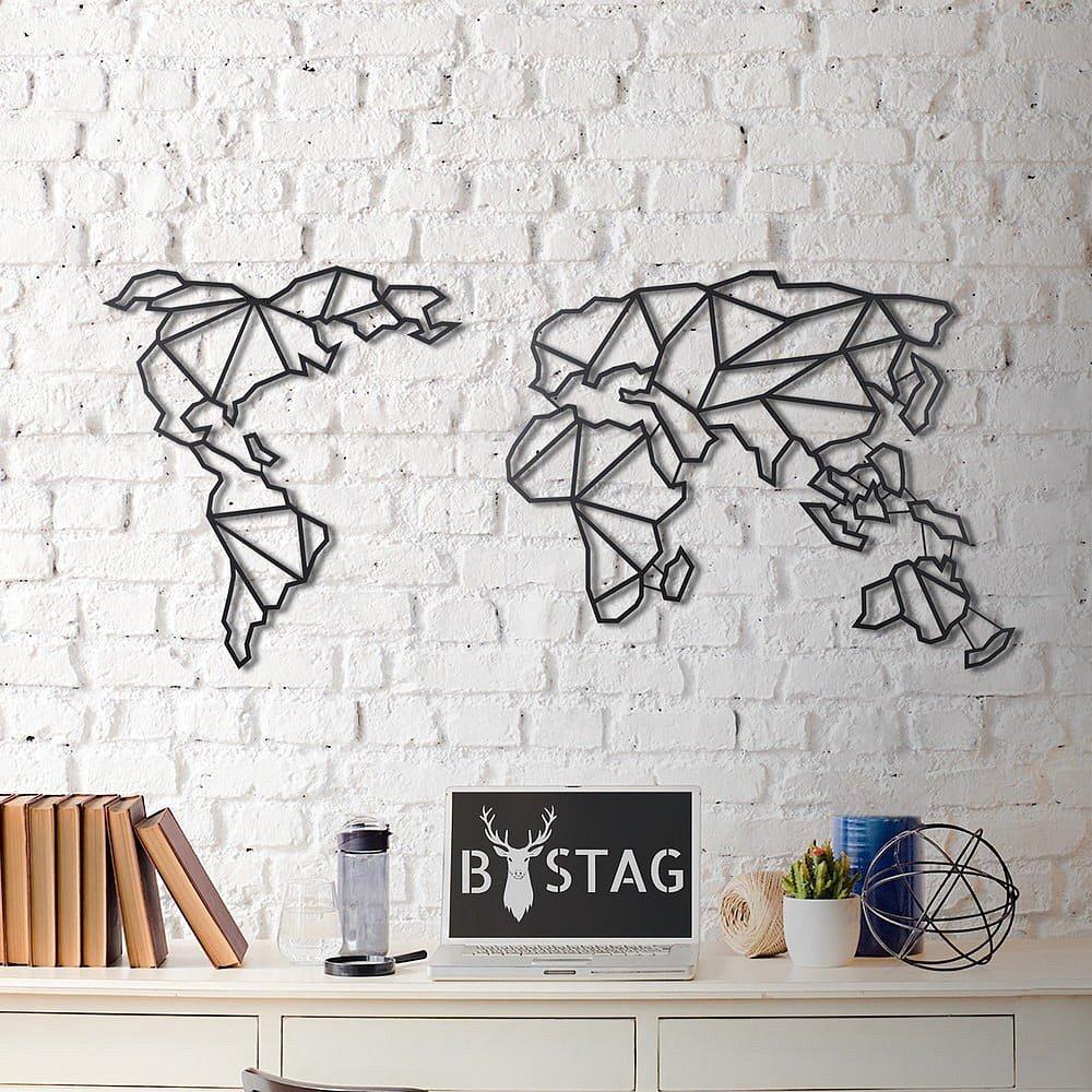 Nástěnná kovová dekorace Map, 60x130 cm