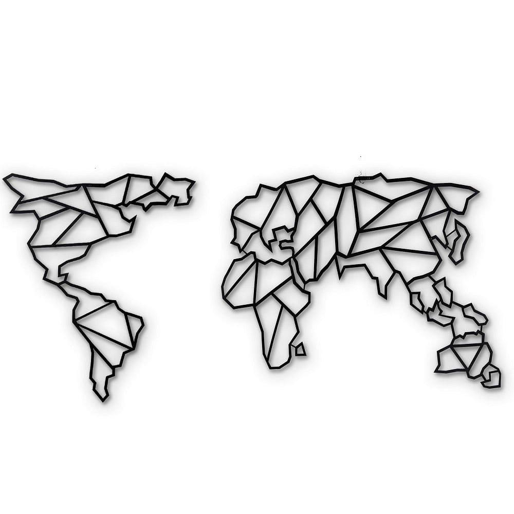 Nástěnná kovová dekorace Map Of The World Clear, 85x170 cm