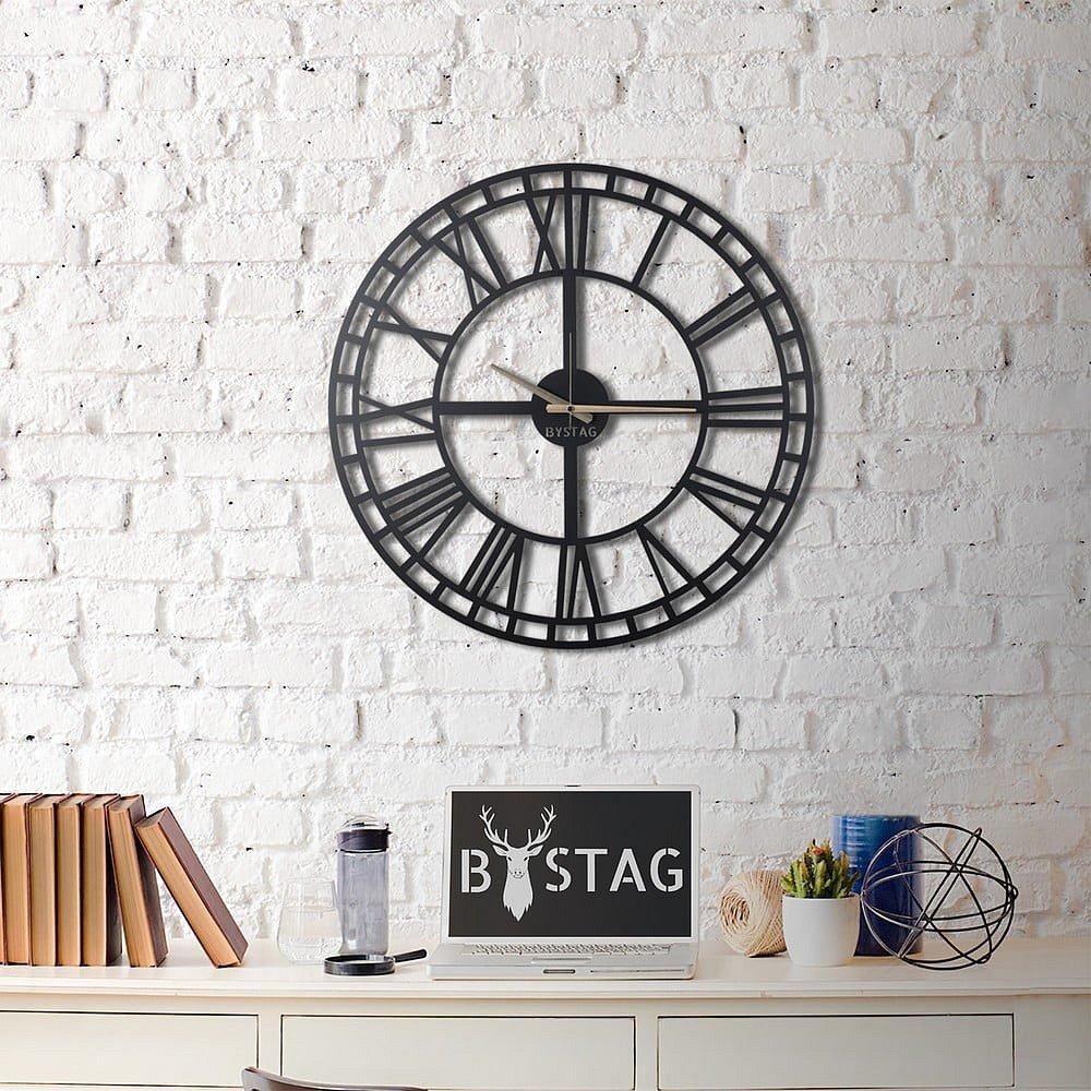 Černé nástěnné hodiny Greece, ø 70 cm