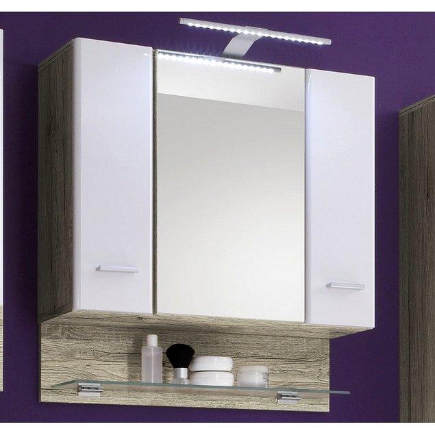 Koupelnová skříňka se zrcadlem Barolo, s osvětlením, dub san remo/lesklá bílá