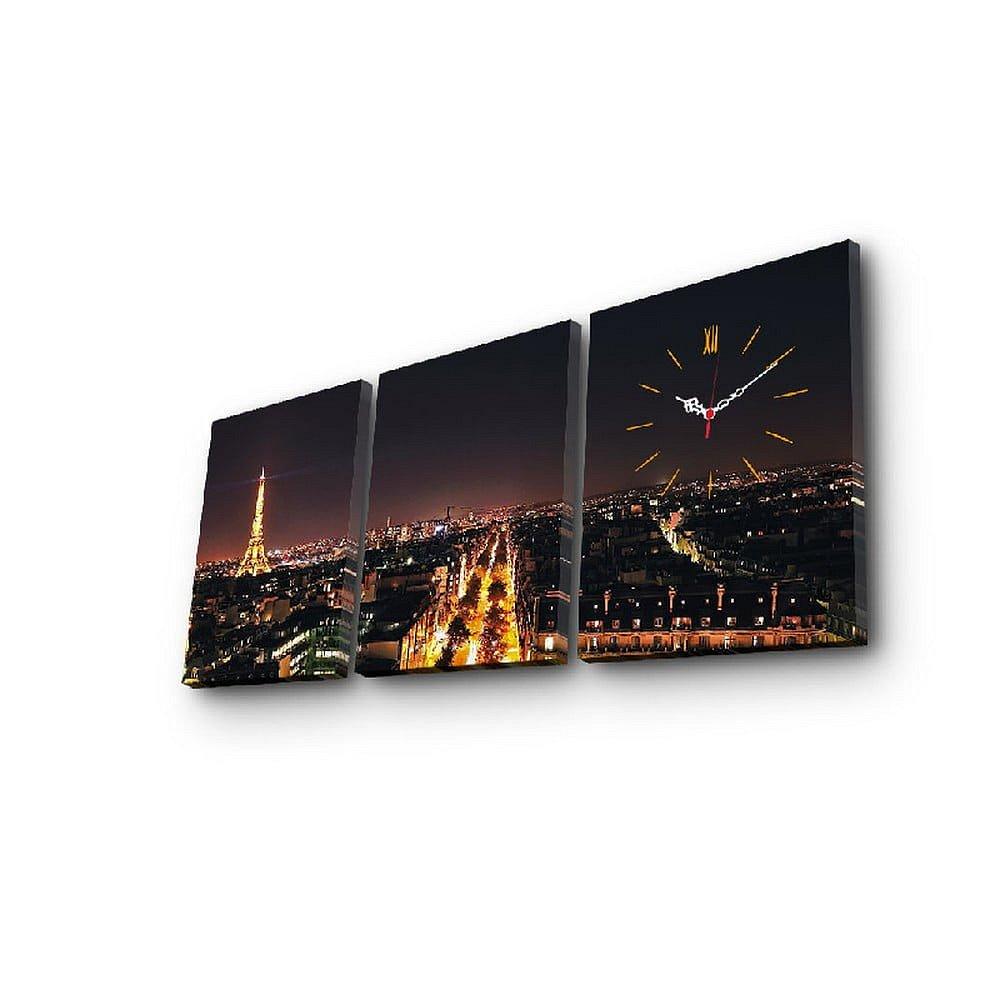 Nástěnné obrazové hodiny Paříž, 96x40 cm
