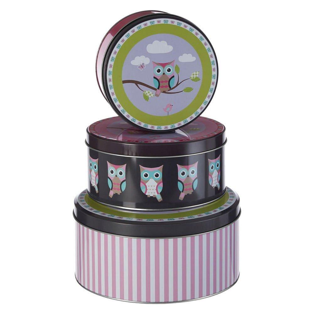 Sada 3 cínových úložných boxů Premier Housewares Happy Owls