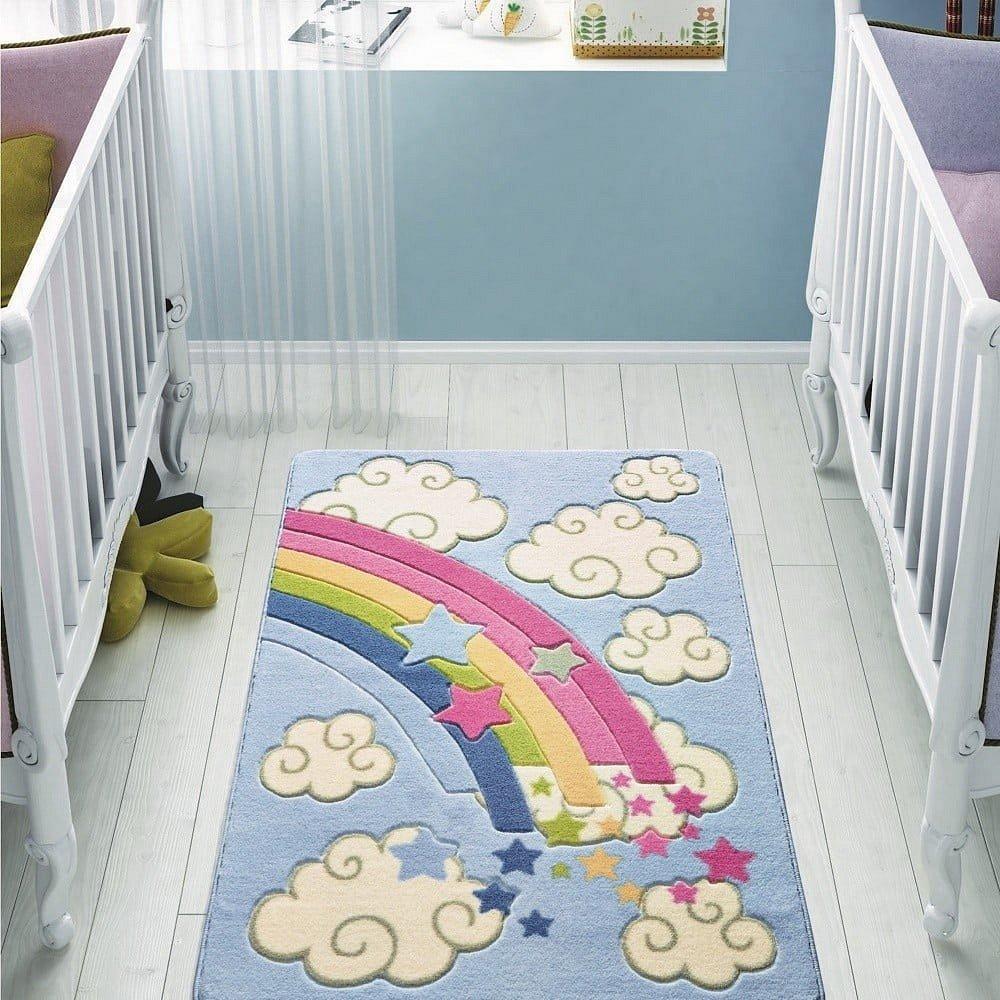 Dětský modrý koberec Confetti Rainbow,100x150cm