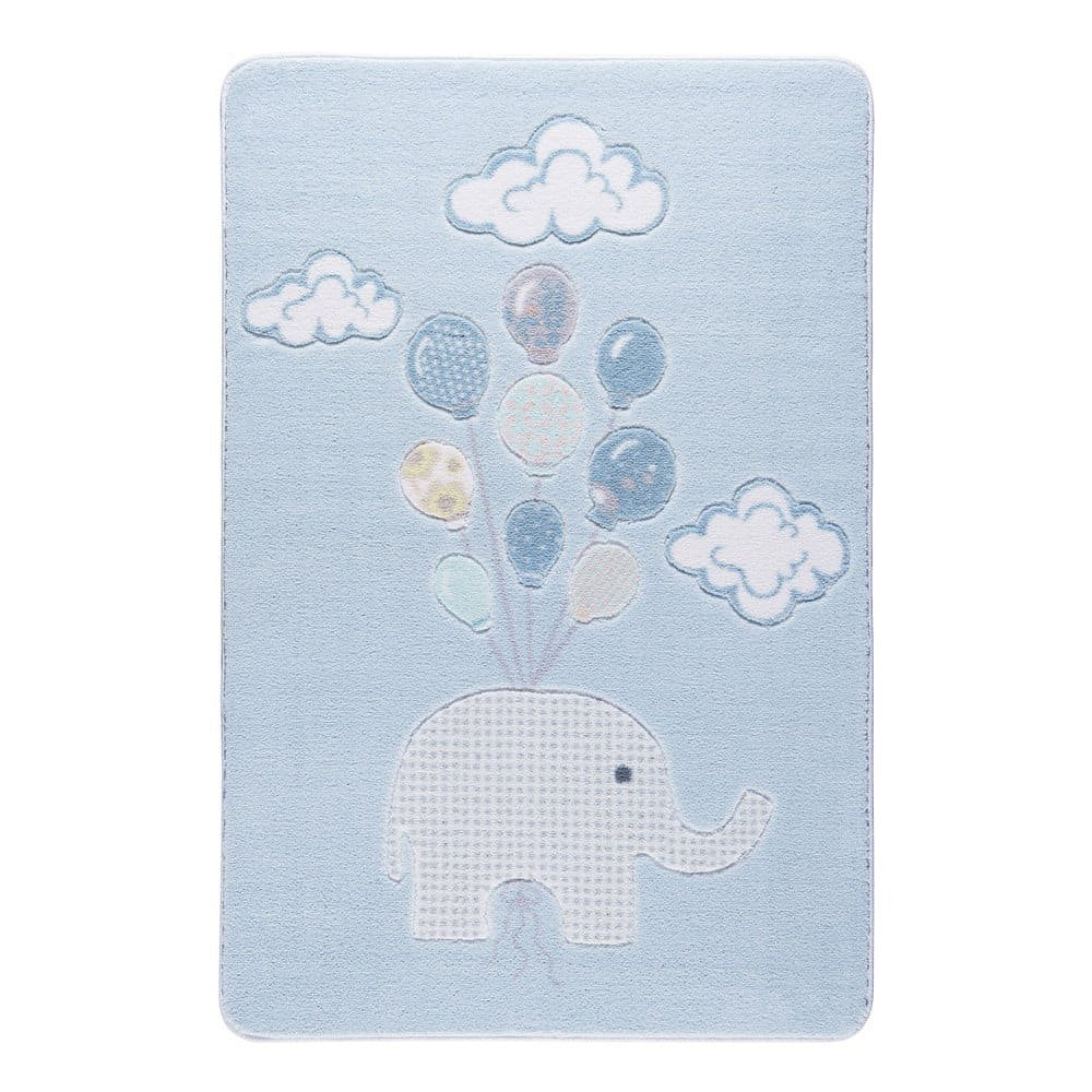 Dětský světle modrý koberec Confetti Sweet Elephant, 133x190cm