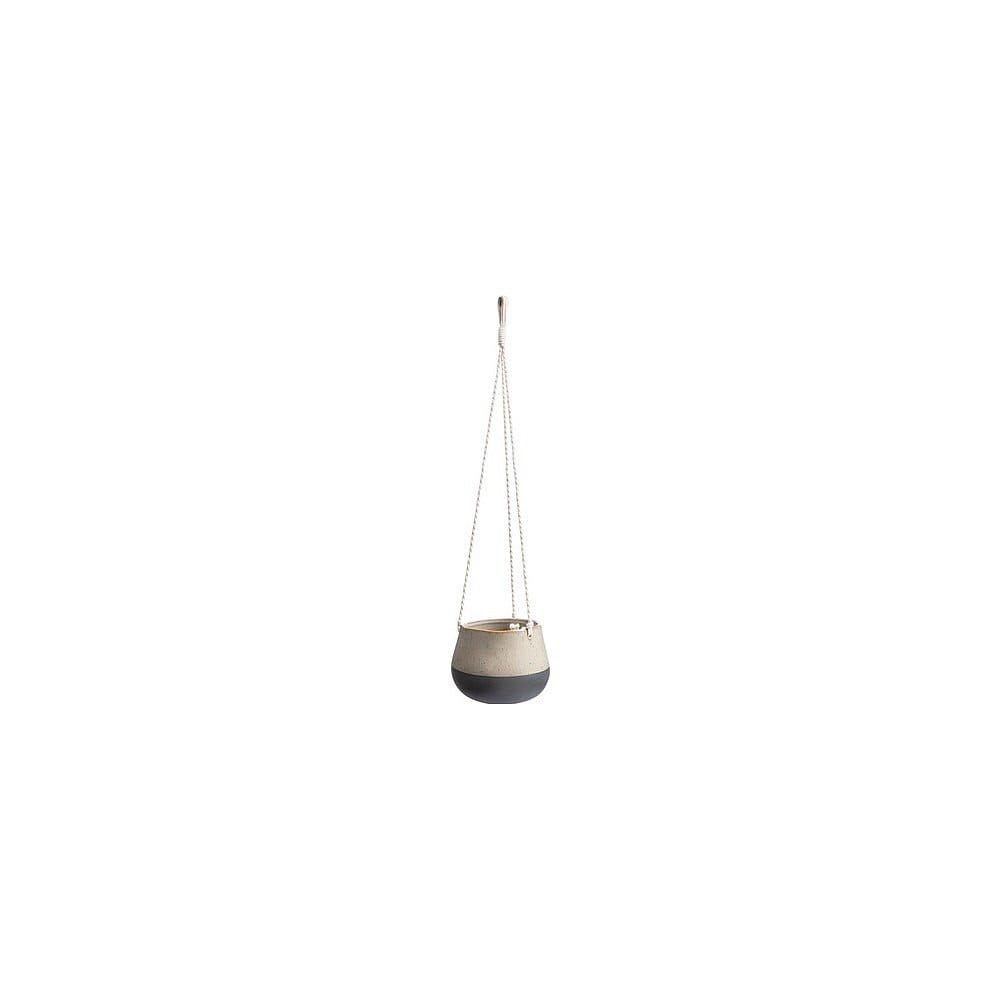 Bílo-šedý keramický květináč Vox Pendo, výška 12 cm