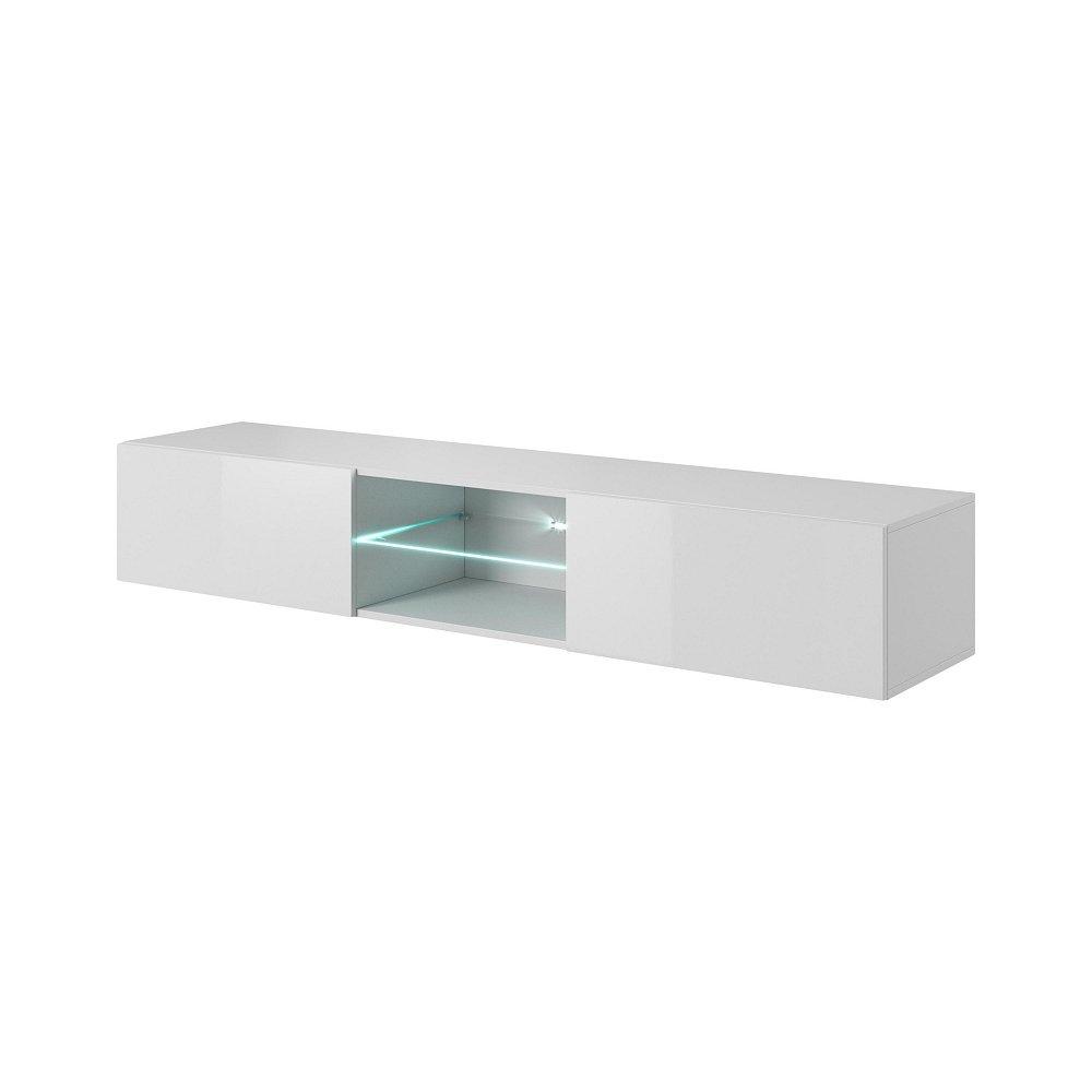 LIVO RTV-180W televizní stolek visící se sklem, bílá