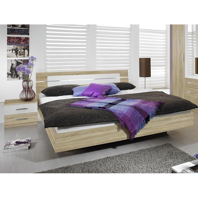 Postel s nočními stolky Burano 160x200 cm, dub sonoma/bílá