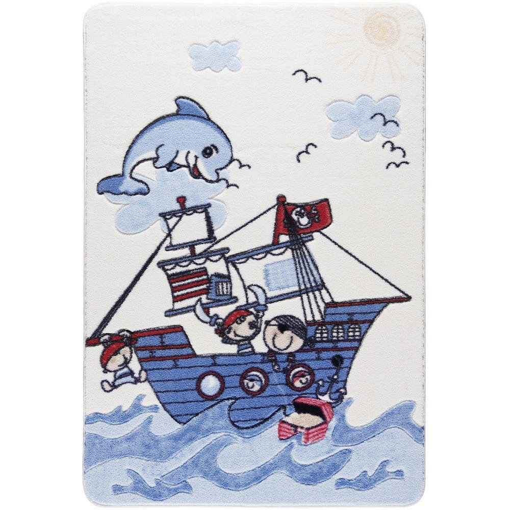 Dětský modrý koberec Confetti Smiley Dolphin, 133x190cm