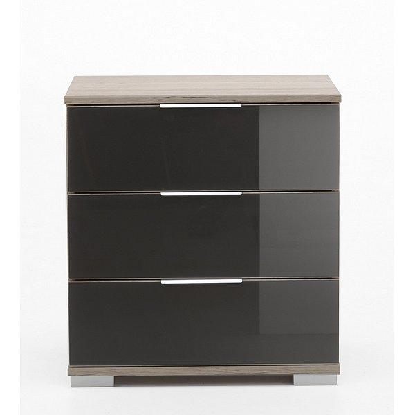 Noční stolek Easy Plus C, dub sonoma/šedé sklo
