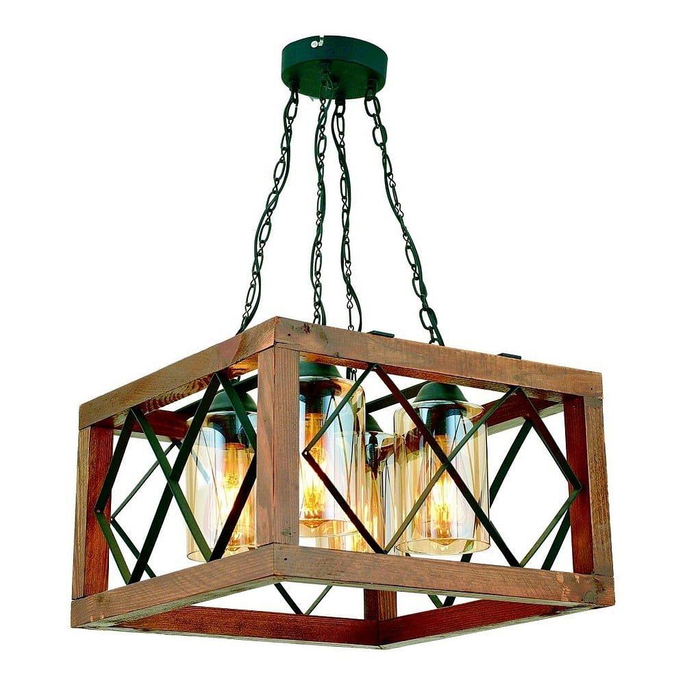 Závěsné svítidlo z habrového dřeva Zikzak Kare