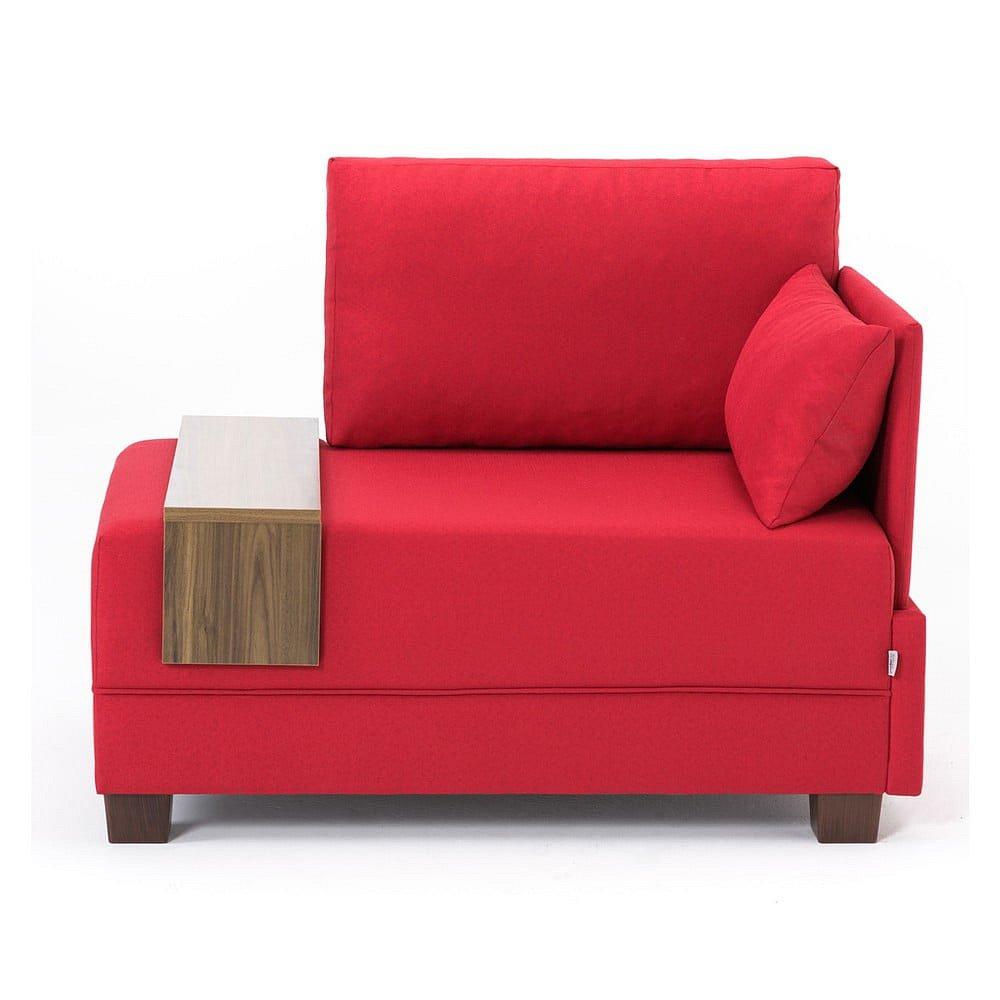 Červené křeslo s područkou na levé straně a odkládací deskou Balcab Home Martha