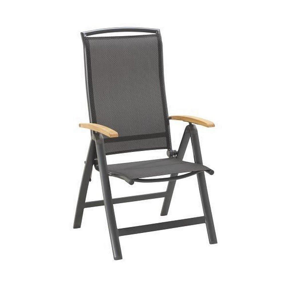 Ambia Garden Zahradní Sklápěcí Židle, Teakové Dřevo, Antracitová, Černá - Zahradní židle skládací - 002053000102
