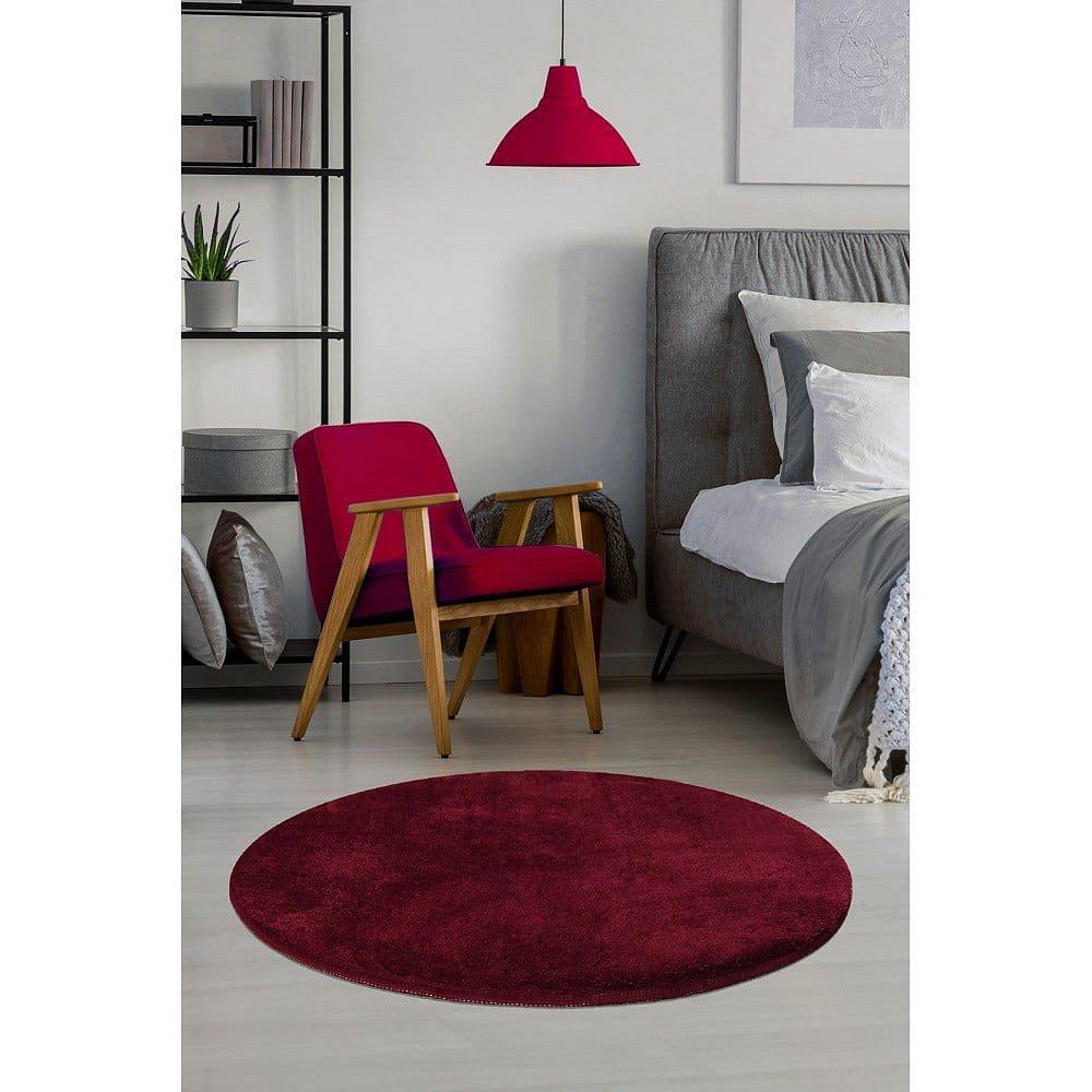 Tmavě červený koberec Milano, ⌀90cm