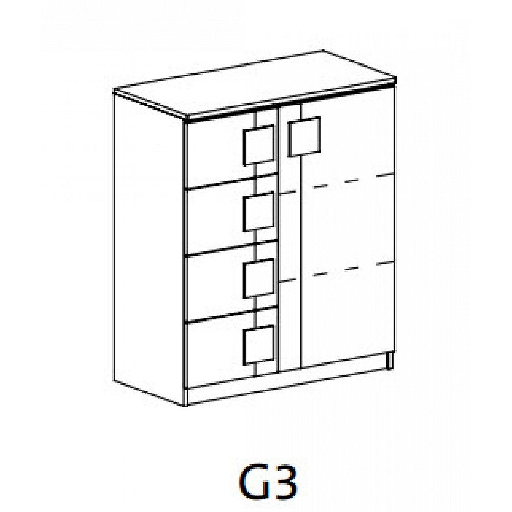GIMMI, komoda G3, dub santana/hnědá