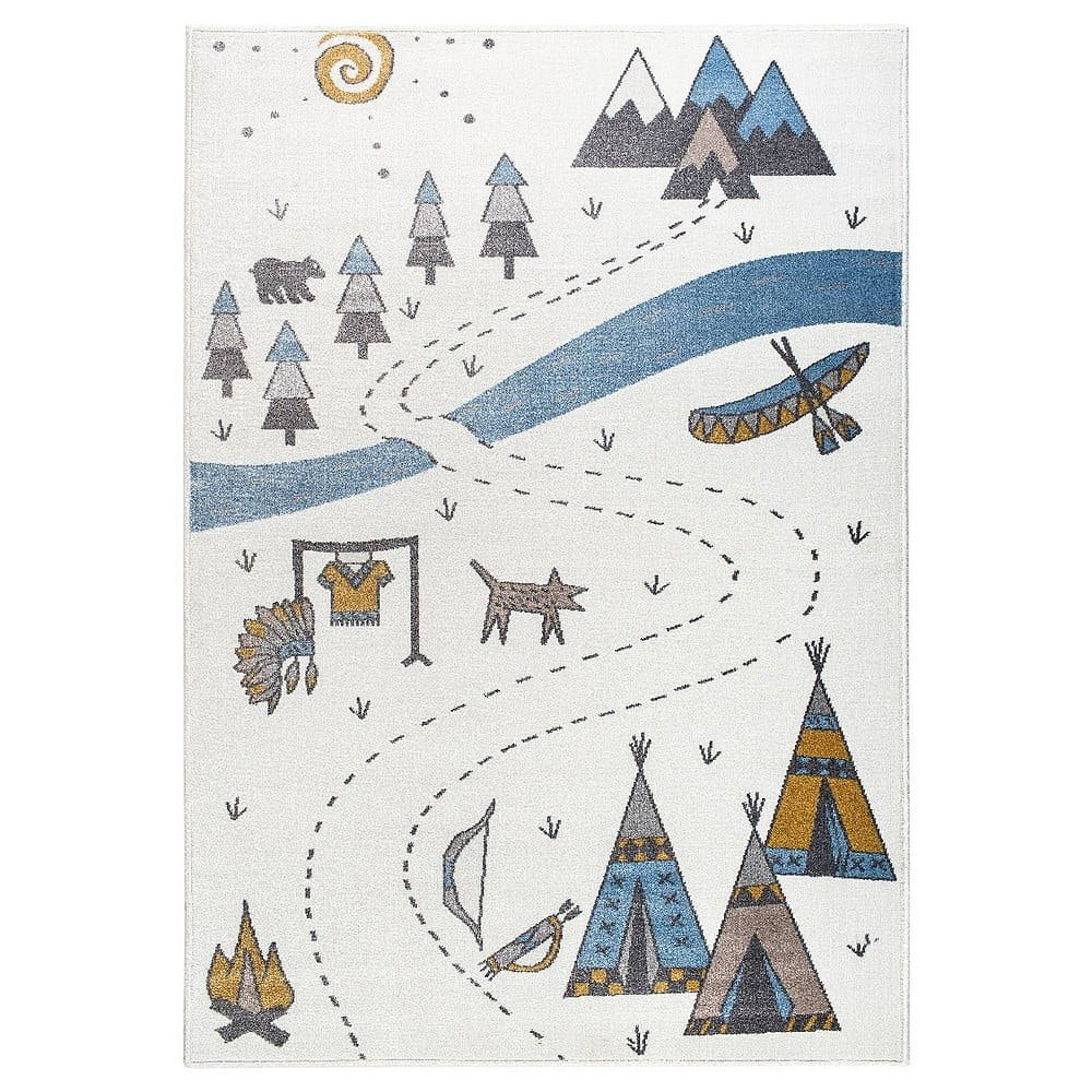 Světlý koberec s indiánským motivem KICOTI Light, 133 x 190 cm