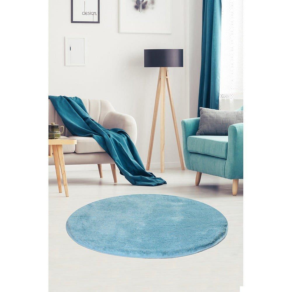 Světle modrý koberec Milano, ⌀90cm