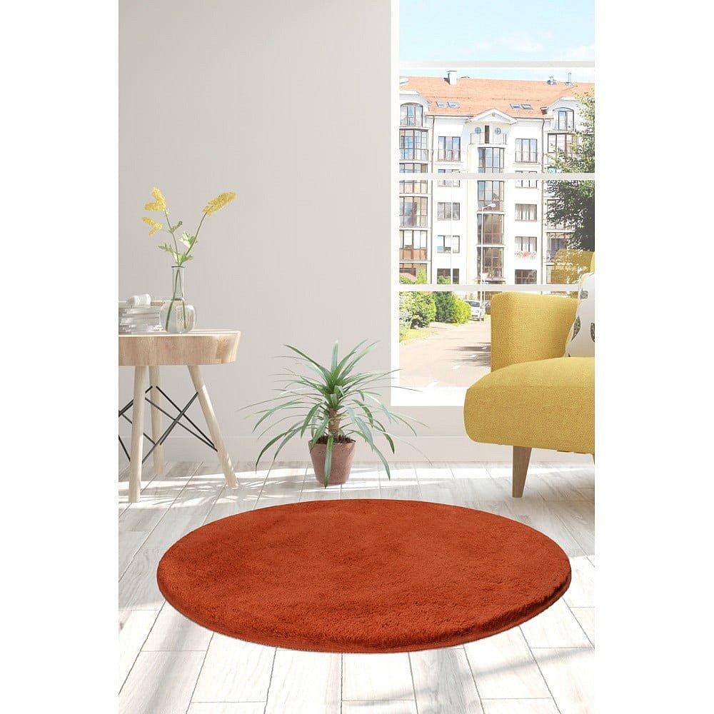 Cihlově červený koberec Milano, ⌀90cm