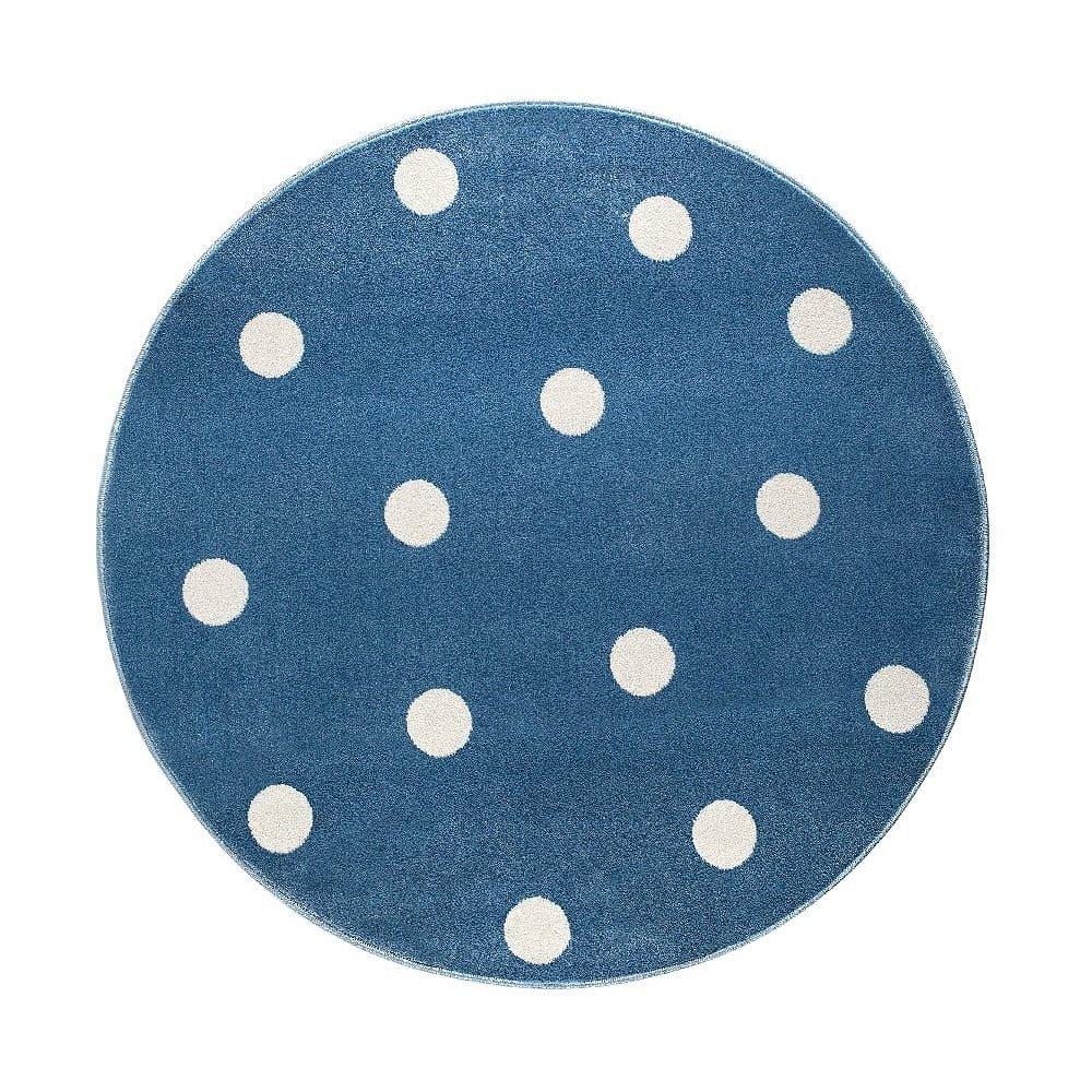 Modrý kulatý koberec s puntíky KICOTI Blue, ø 100 cm