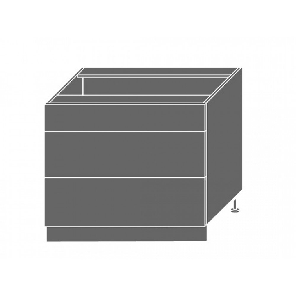 QUANTUM, skříňka dolní D3M 90, vanilla mat/lava