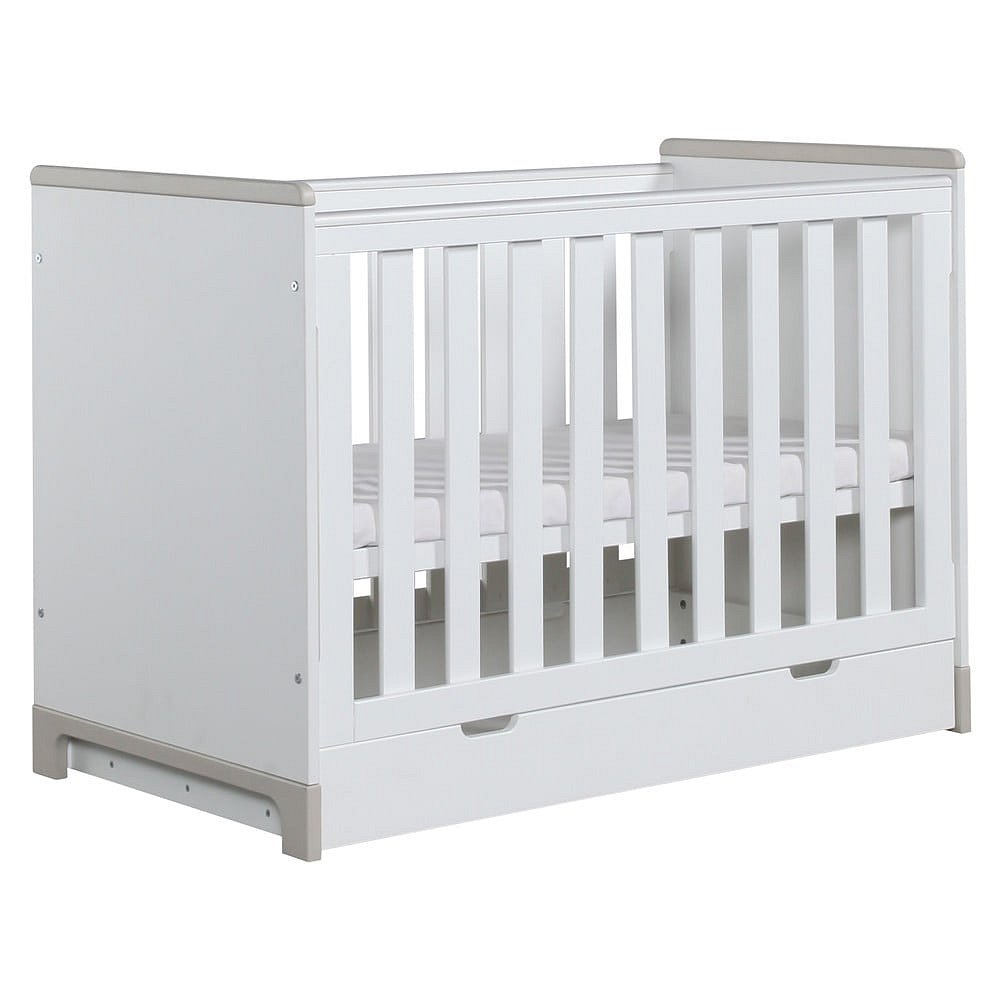 Bílo-šedá variabilní dětská postýlka Pinio Mini, 140x70cm