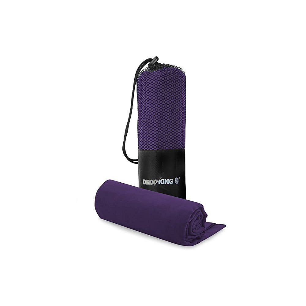 Set fialové rychleschnoucí osušky a ručníku DecoKing EKEA, 70 x 140 cm + 30 x 50 cm