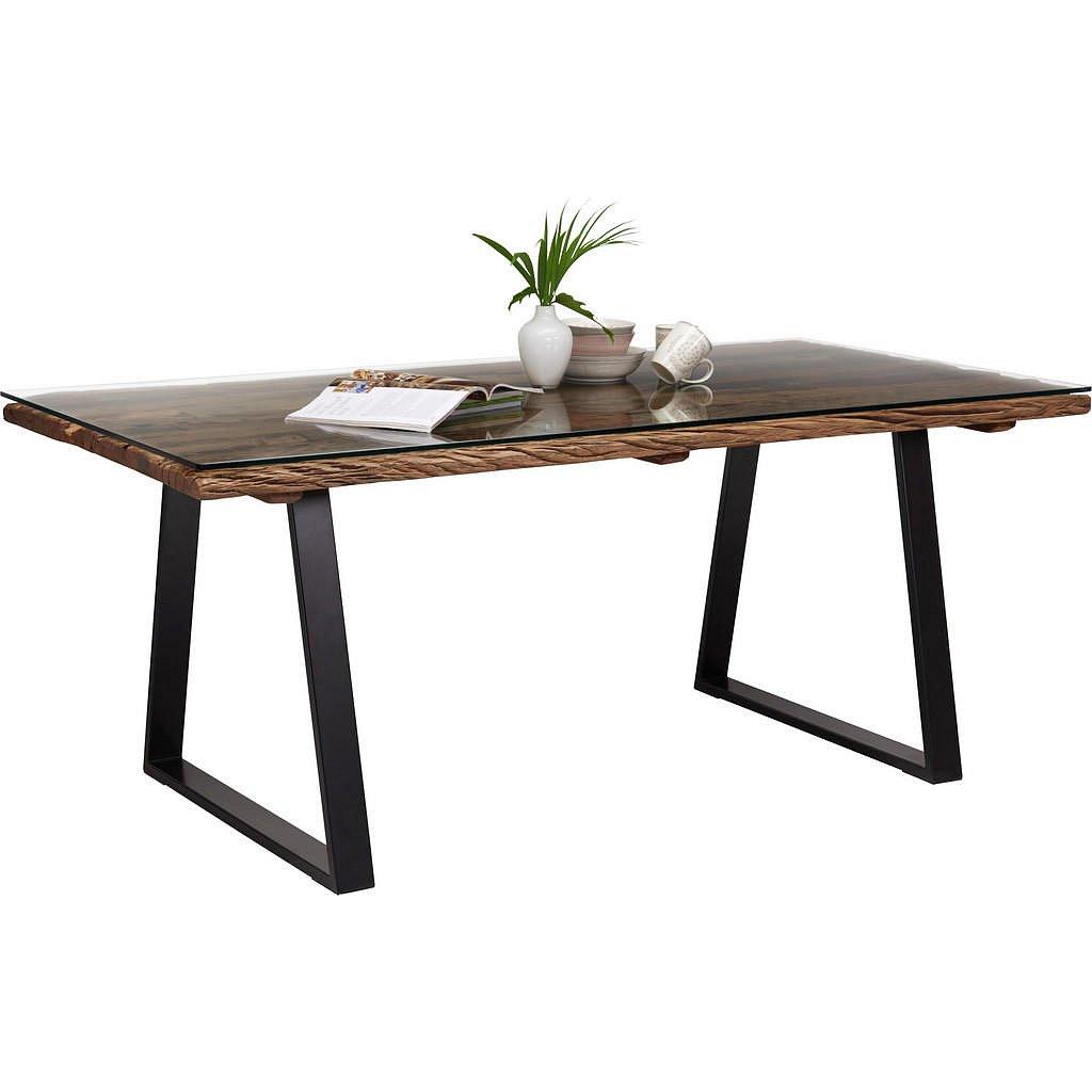 Ambia Home Jídelní Stůl, Masivní, Recyklované Dřevo, Přírodní Barvy, Černá - 001609000201