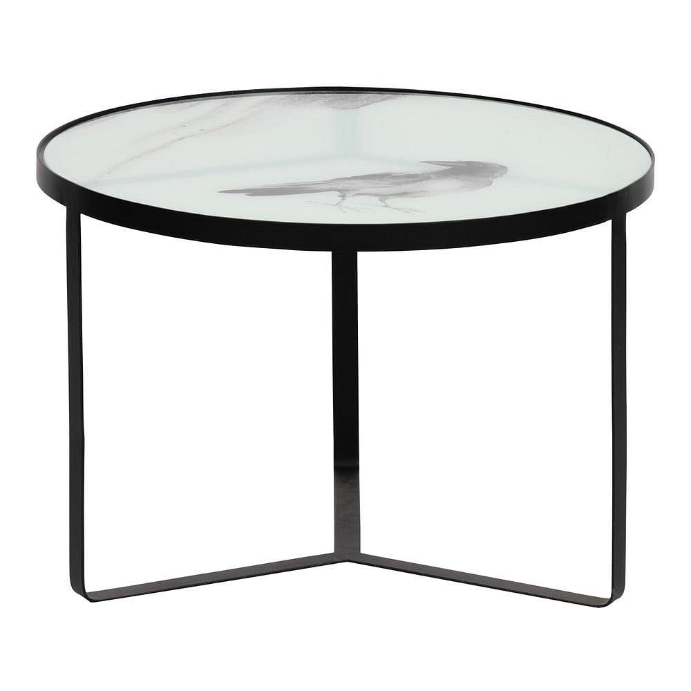 Kovový odkládací stolek seskleněnou deskou BePureHome Fly, ⌀55cm