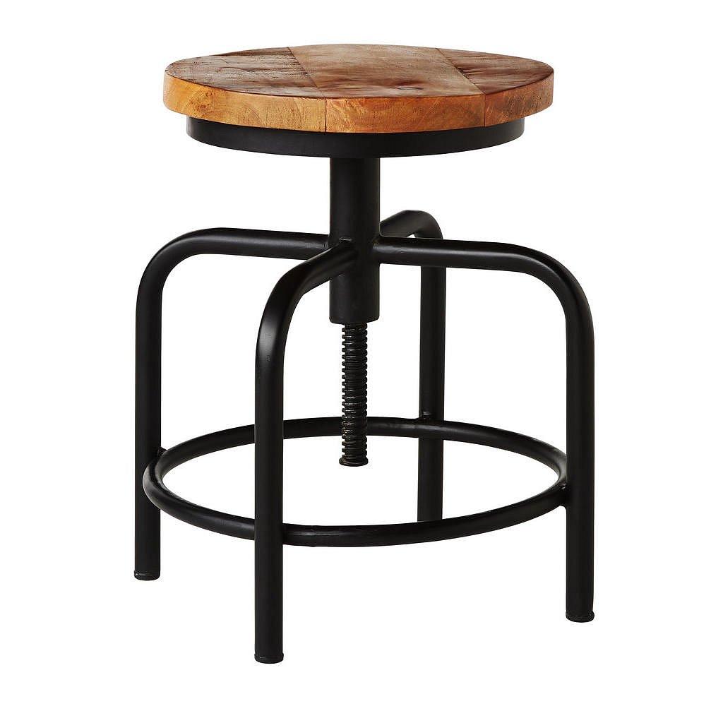 Ambia Home Taburet, Mangové Dřevo, Přírodní Barvy, Černá - Taburety - 000377005901