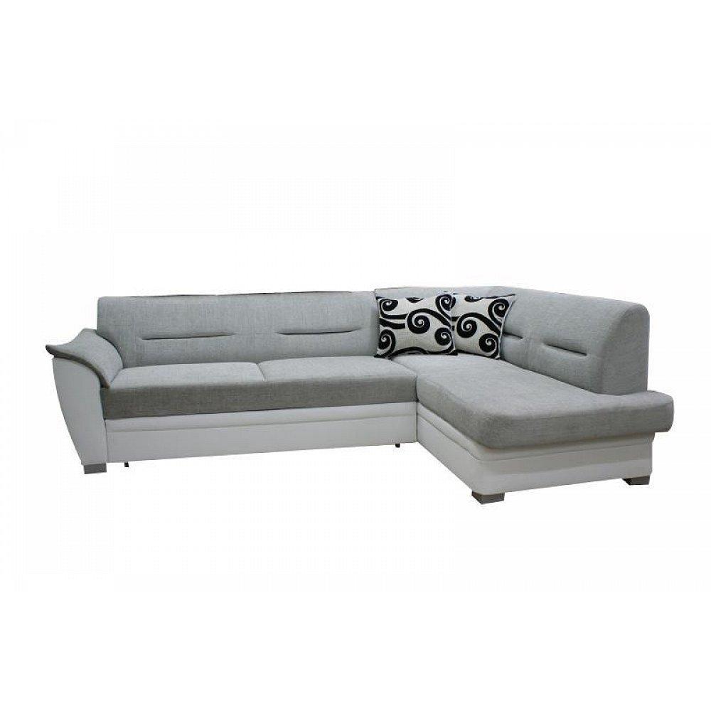 Rohová sedačka TOLEDO bez záhlavníku, pravá, látka šedo/bílá