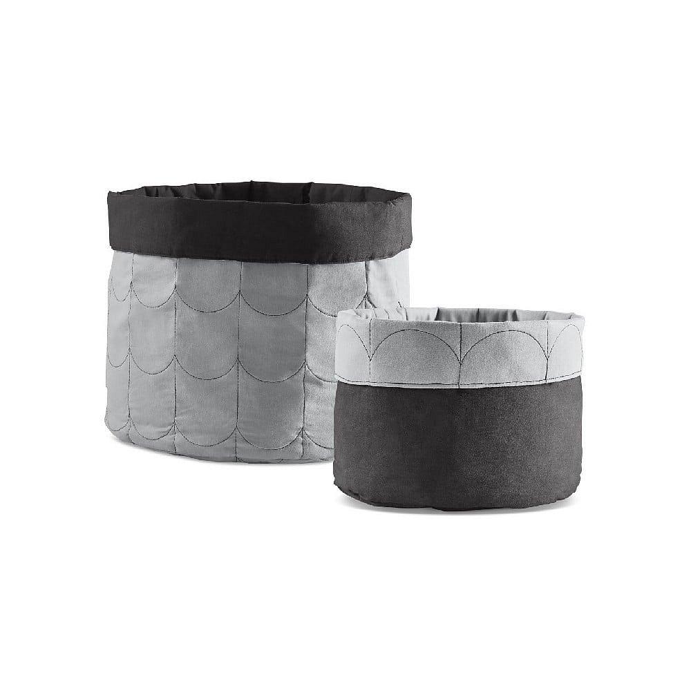 Sada 2 šedých oboustranných úložných boxů Flexa Room