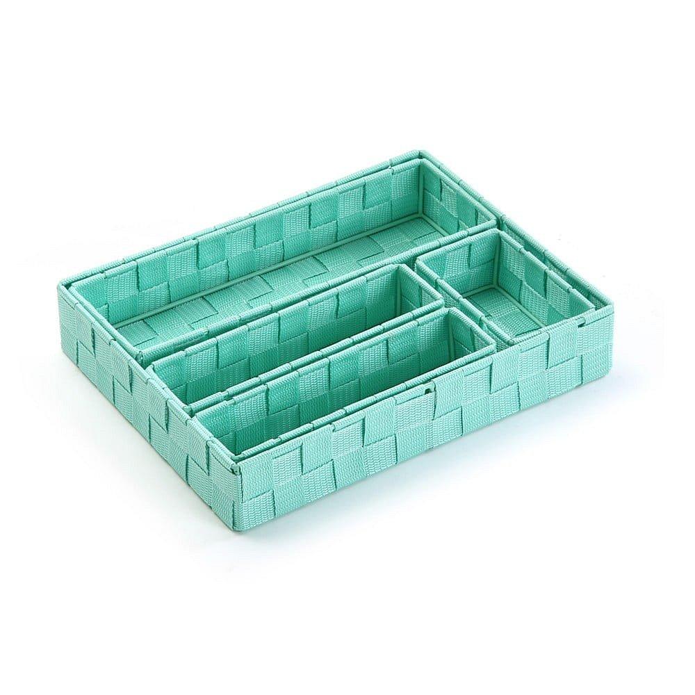 Sada 5 zelených úložných košíků Versa Green Pastel