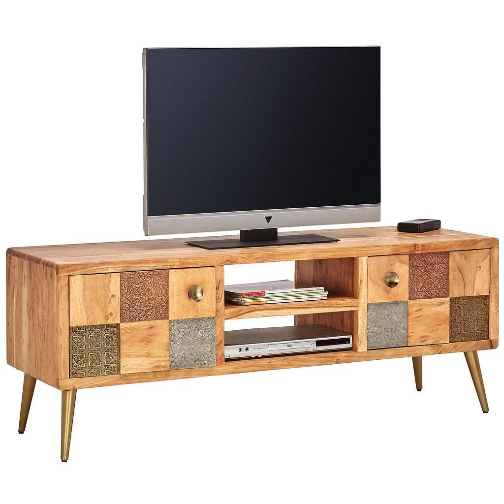 Ambia Home Nízká Komoda, Hnědá, Šedá, Zelená, Barvy Akácie, Barvy Zlata - TV komody - 001630008603
