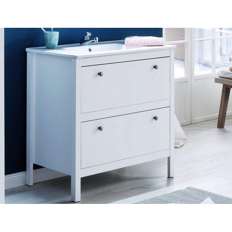 Koupelnová skříňka s umyvadlem Ole, bílá, šířka 81 cm