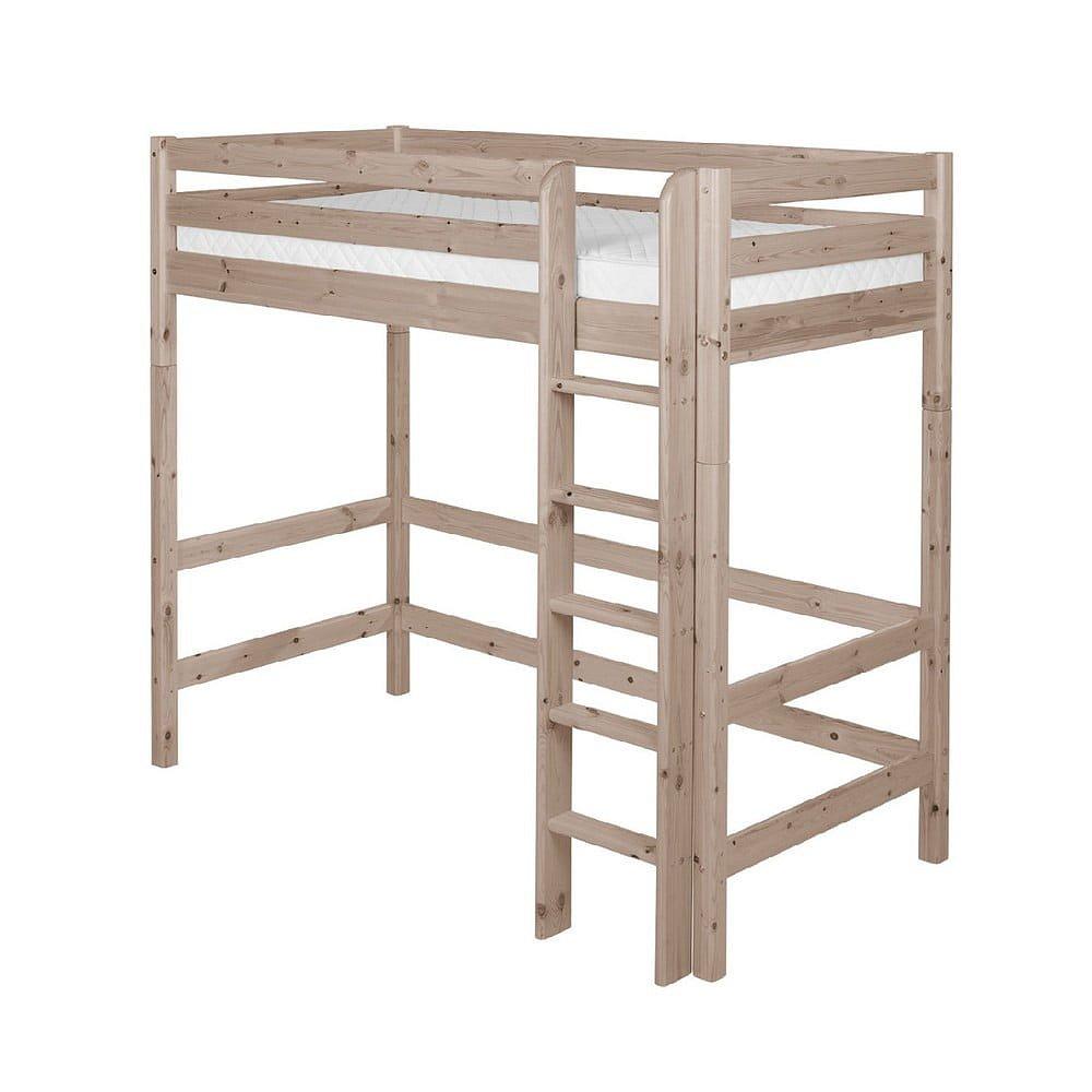 Hnědá dětská vysoká postel z borovicového dřeva Flexa Classic, 90x200cm