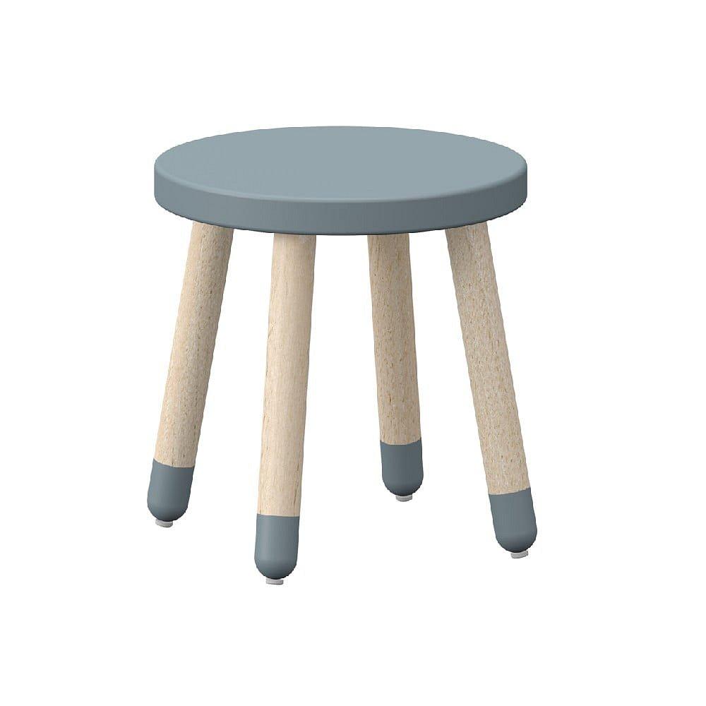 Modrá dětská stolička s nohami z jasanového dřeva Flexa Play, ø 30 cm