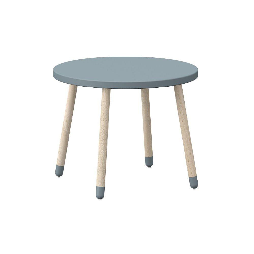 Modrý dětský stolek s nohami z jasanového dřeva Flexa Play, ø 60 cm