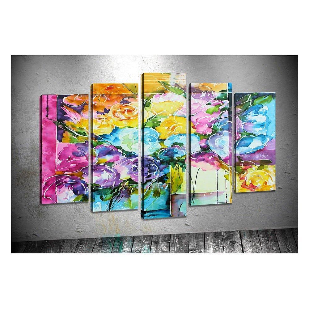 Sada 5 obrazů Tablo Center Swirly Flowers