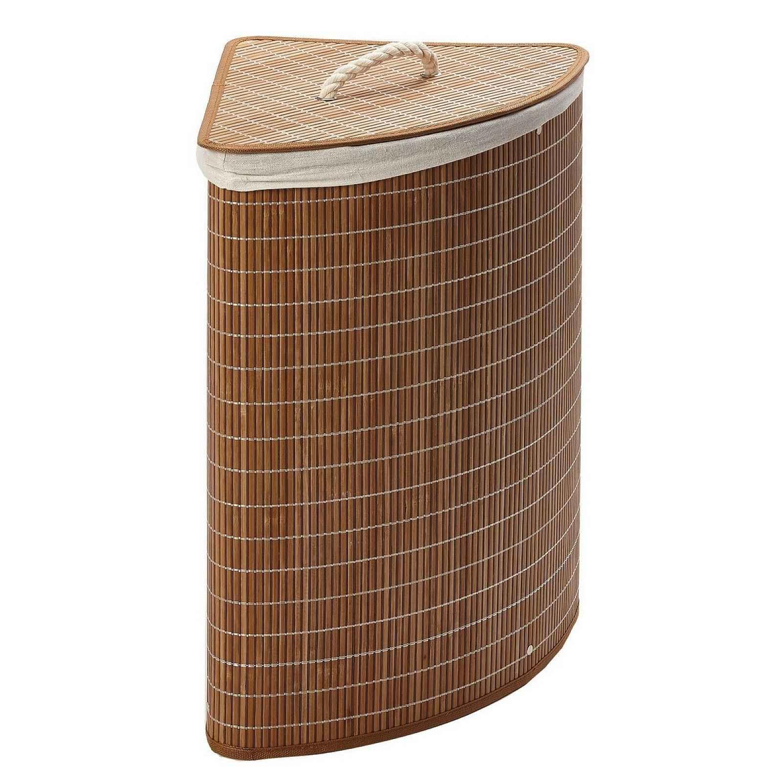 Rohový bambusový koš na špinavé prádlo