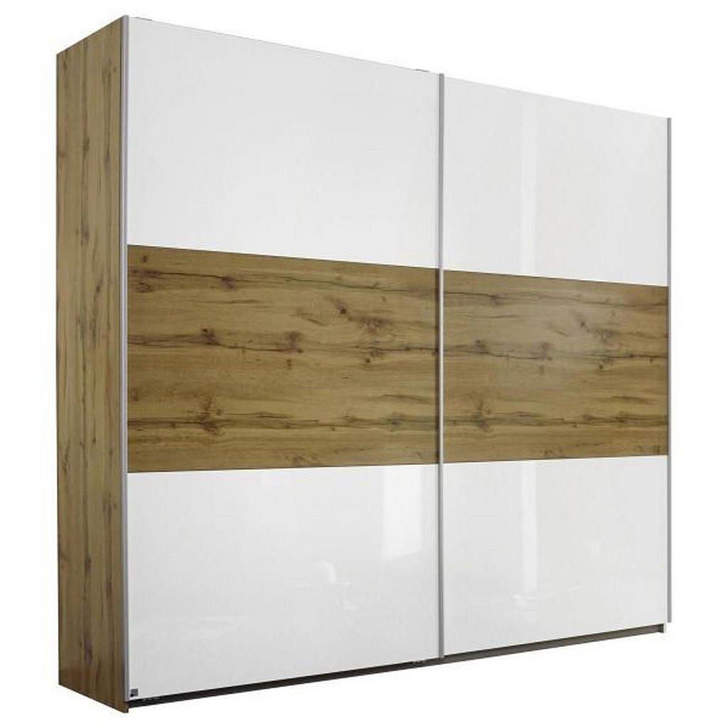 Modern Living Skříň S Pos. Dveřmi.(Hor.ved.), Bílá, Barvy Dubu - Skříně s posuvnými dveřmi - 000380032801