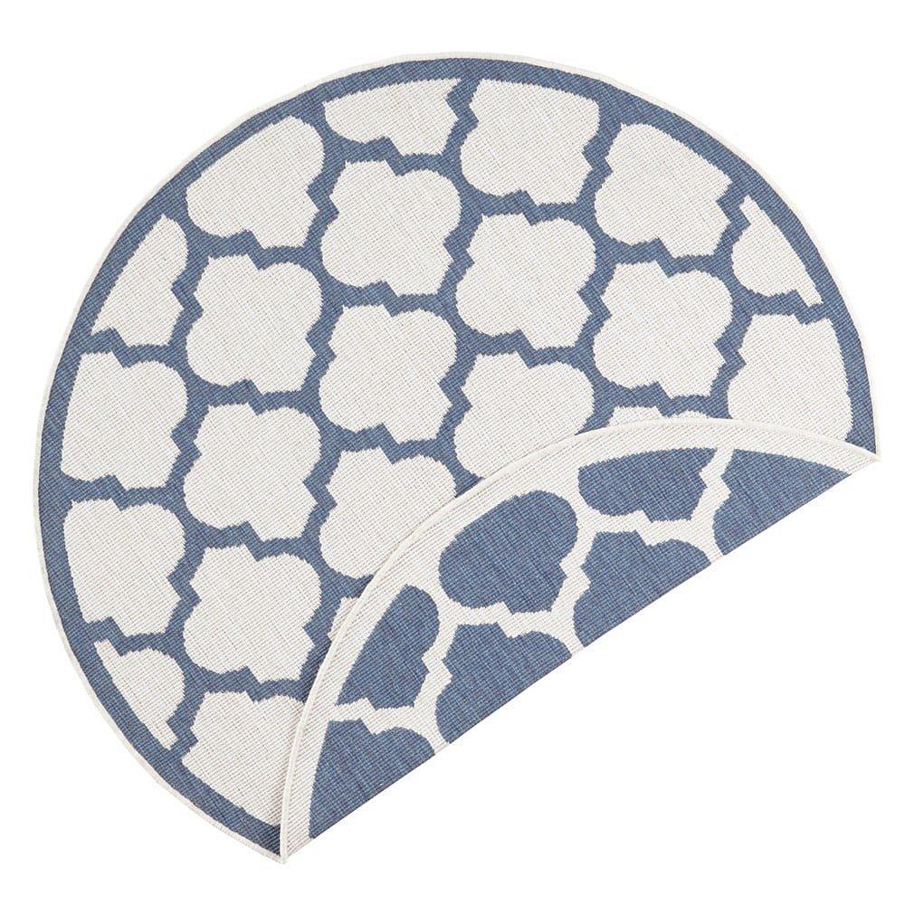 Modro-krémový venkovní koberec Bougari Palermo, ⌀ 140 cm